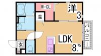 ルミディオ東須磨[105号室]の間取り