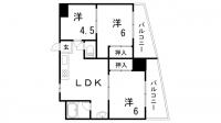 鯉川マンション[602号室]の間取り