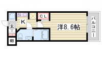 S-RESIDENCE神戸磯上通[803号室]の間取り