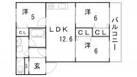 ラムール籠池[1階]の間取り