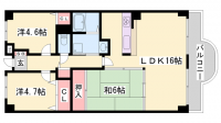 兵庫県神戸市長田区林山町1丁目の賃貸マンションの間取り