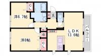 サンフラワーA・B棟[B202号室]の間取り