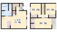 [テラスハウス] 兵庫県加東市南山2丁目 の賃貸【兵庫県 / 加東市】の間取り