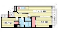 ミリオンベル神戸[704号室]の間取り
