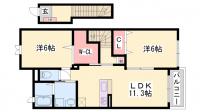 ソレイユ東姫路[201号室]の間取り