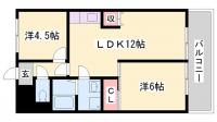 岡町中村コーポ[4階]の間取り