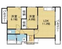 アクロス上町東アパートメントⅡ[2階]の間取り