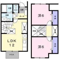 [テラスハウス] 広島県東広島市西条中央8丁目4−3 の賃貸【広島県 / 東広島市】の間取り