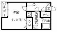 クレフラスト横手ⅡB[1号室]の間取り