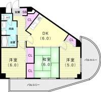 ライオンズマンション奥須磨[305号室]の間取り