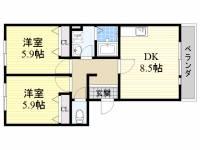 ドミール吉井3[2階]の間取り