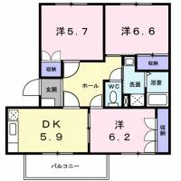 滋賀県栗東市小柿2丁目の賃貸アパートの間取り