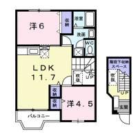 滋賀県大津市月輪2丁目の賃貸アパートの間取り