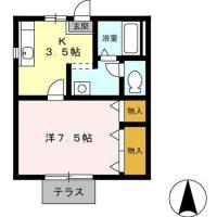 静岡県浜松市北区三方原町の賃貸アパートの間取り