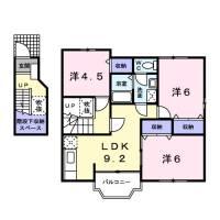 山梨県中巨摩郡昭和町清水新居の賃貸アパートの間取り