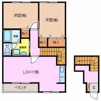 三重県四日市市釆女町の賃貸アパートの間取り