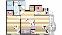 兵庫県神戸市北区山田町上谷上字古々山の賃貸アパートの間取り
