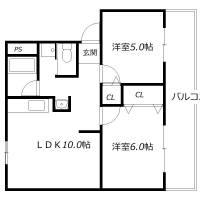 高津橋農住団地E棟[2階]の間取り