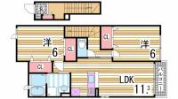兵庫県神戸市西区二ツ屋2丁目の賃貸アパートの間取り
