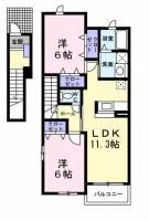 神奈川県綾瀬市落合南2丁目の賃貸アパートの間取り