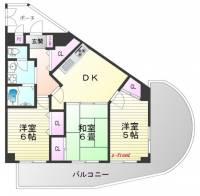ライオンズマンション奥須磨[3階]の間取り