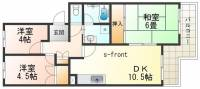 兵庫県神戸市須磨区南落合2丁目の賃貸マンションの間取り