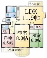 兵庫県神戸市須磨区横尾5丁目の賃貸マンションの間取り