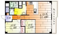 大阪府豊中市上新田4丁目の賃貸マンションの間取り