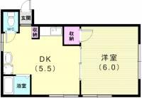 丸富久荘[2F北号室]の間取り